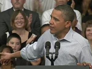 President Barack Obama speaks to a crowd on the campus of Guilford Technical Community College in Jamestown on Oct. 18, 2011, where he promoted his jobs bill.