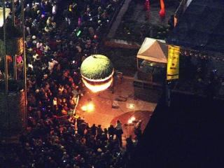 Sky 5 flies over First Night Raleigh
