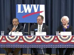 Wake County Commissioner James West, left, who is looking to be re-elected to the District 5 seat, is joined by Republican Paul Fitts and his Democratic challenger, incumbent Betty Lou Ward, for the District 6 seat on the Wake County Board of Commissioners.