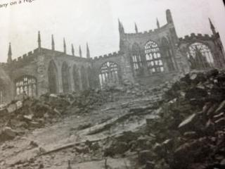 Picture shows the aftermath of German bombs hitting a cathedral in Coventry, England in November of 1940.