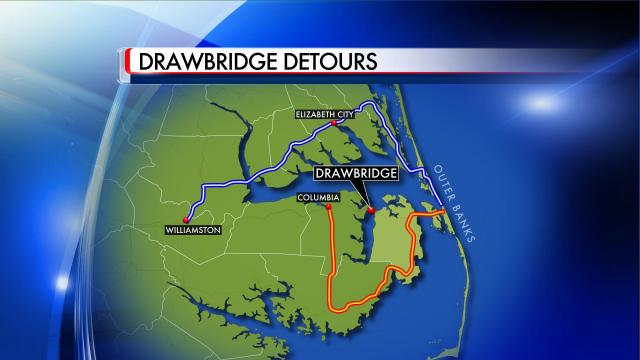 The DOT has drawn detours around the planned work on the Alligator River bridge.
