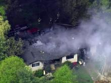 Sky 5 coverage of Raleigh house fire