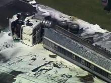 Sky 5: Tanker truck flips in Selma