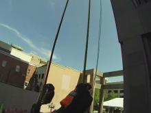 Rappel view: Bill Leslie goes Over the Edge