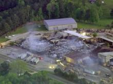 Sky 5 flies over Harnett County factory fire