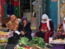 Women selling produce in a Ramallah market.