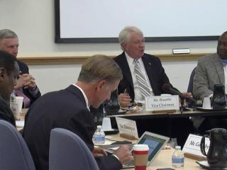 Members of the UNC Board of Governors discuss during a Nov. 13, 2015, meeting a legislative request for records of a closed-door session in which several chancellors received raises.