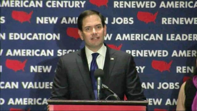 Rubio finishes 2nd in Fla, drops out of race