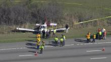 Sky 5 flies over scene of emergency plane landing