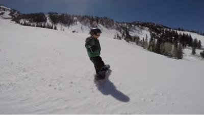 A 4-year-old from Sandy already has more snowboarding skills than many of us ever will. (Deseret Photo)