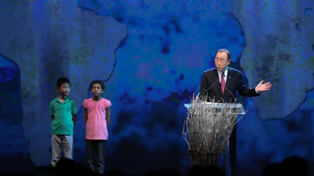 Ban Ki-moon, Secretary General of the United Nations, speaks at the opening ceremony of the World Humanitarian Summit in Istanbul on May 23. (Deseret Photo)