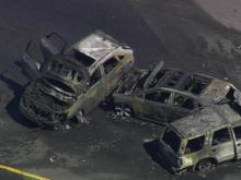 Sky 5 flies over car fire blocking westbound lanes of I-40 in Durham