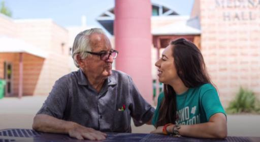 A college freshman wasn't alone when she hit campus for her first day of classes — she had her grandfather by her side. (Deseret Photo)