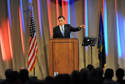 Former presidential candidate and governor Mitt Romney speaks during a meeting of The Economic Club of Southwestern Michigan Tuesday, Oct. 18, 2016, at Lake Michigan College's Mendel Center in Benton Harbor, Mich. (Don Campbell/The Herald-Palladium via AP) (Deseret Photo)