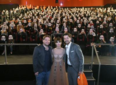 Director Gareth Edward and actors Felicity Jones and Diego Luna with fans at the Fan Event Q&A in Mexico City on Nov. 22, 2016. (Deseret Photo)