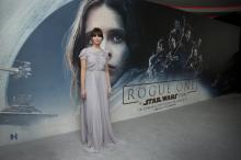 Actress Felicity Jones poses for photographers upon arrival at the Rogue One: A Star Wars Story fan screening in London, Tuesday, Dec. 13, 2016. (Deseret Photo)
