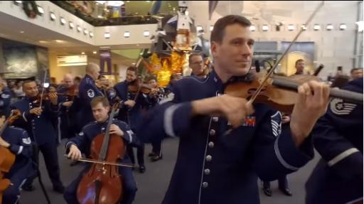 Hearing a surprise performance of the United States Air Force Band would be a treat any time of year, let alone at Christmastime during a visit to the Smithsonian National Air and Space Museum. (Deseret Photo)