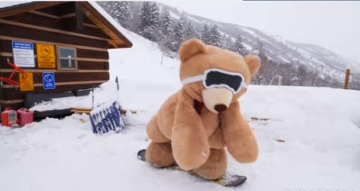 Local YouTuber, Stuart Edge, has teamed up with a giant stuffed bear for an epic powder day at a local Utah resort. (Deseret Photo)