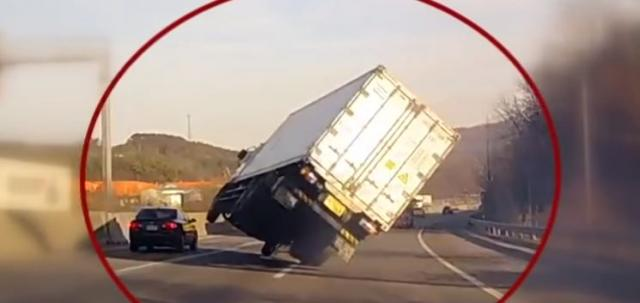 If you've ever narrowly avoided a catastrophic car crash, you can probably understand the emotions this semitruck driver felt as he maneuvered his vehicle back into control on a crowded highway. (Deseret Photo)