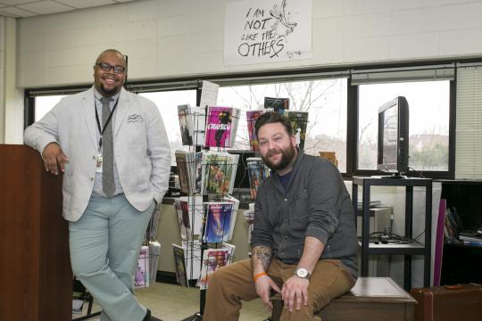 """High school teachers, Ronell Whitaker, left, and Eric Kallenborn, right, who started the Comic Education Outreach program that is partnered with Pop Culture Classroom, pose for a portrait at Alan B. Shepard High School in Palos Heights, Illinois, on Tuesday, April 4, 2017. CEO is non-profit lending library for teachers across the country to """"engage (students) immediately and encourages visual literacy"""" through graphic novels and comic books, says Kallenborn. (Deseret Photo)"""