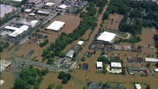 Sky 5 surveys flooded roadways, creeks across Raleigh