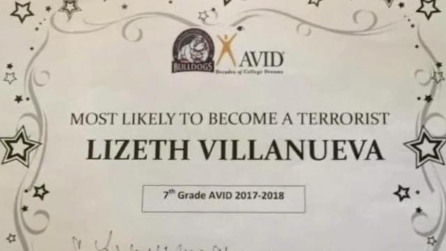 """Villanueva's teacher gave her the award for """"Most likely to become a terrorist."""" sparking outrage from parents and school officials. (Deseret Photo)"""