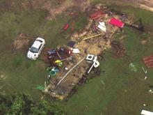 Sky 5 surveys storm damage in Sampson County