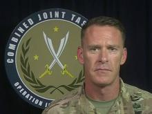 US Army Colonel gives military briefing from Iraq