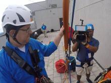 Helmet cam: Aimee Wilmoth rappels down Raleigh skyscraper