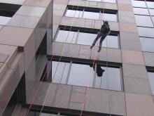View from the street: Aimee goes 'Over the Edge'