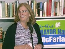 Raleigh Mayor Nancy McFarlane addresses supporters on election night