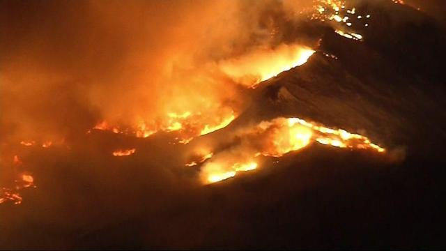 Aerial view shows California fires
