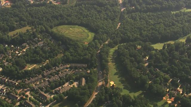 Sky 5 flies over a reported gas leak in Holly Springs