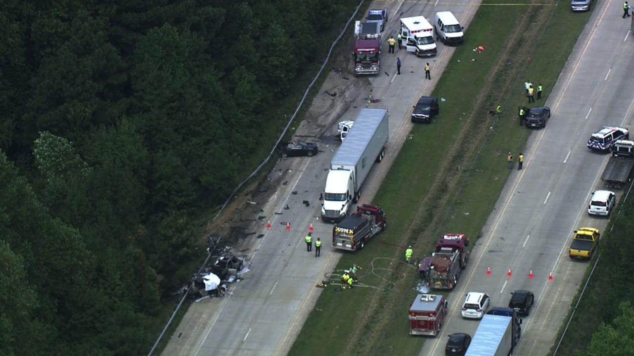 Sky 5 flies over I-40 in Johnston County following fiery crash