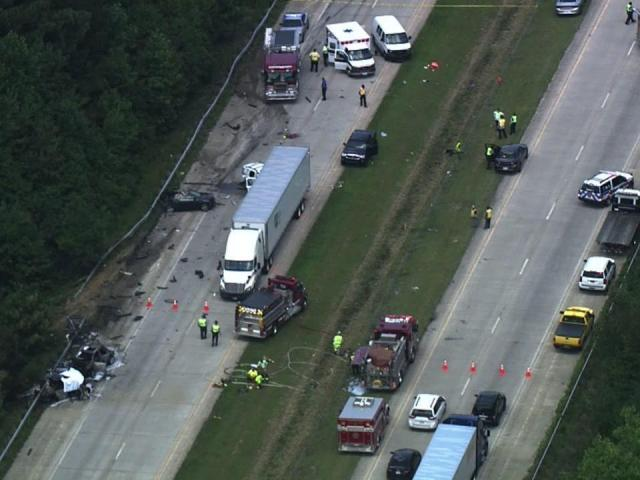 Sky 5 Flies Over I 40 In Johnston County Following Fiery Crash