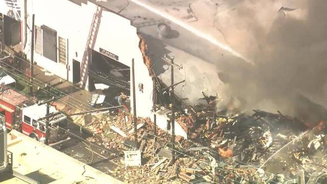 Sky 5 flies over fatal gas explosion in downtown Durham
