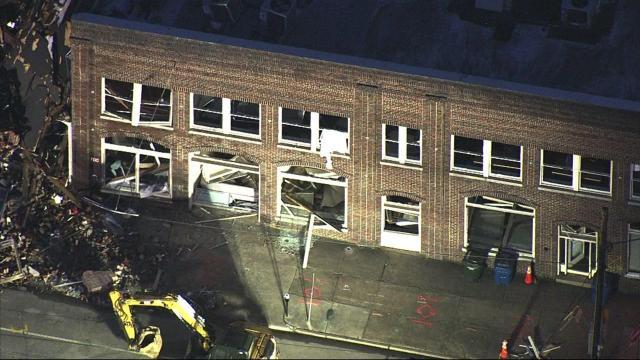 Sky 5 flies over Durham explosion destruction
