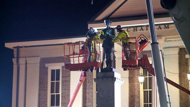 Workers remove Confederate statue outside Chatham County courthouse