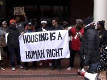 McDougald Terrace residents rally at Durham City Hall