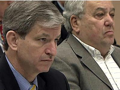 Wake County Board of Commission Chairman Tony Gurley, left, and Board of Education Chairman Ron Margiotta