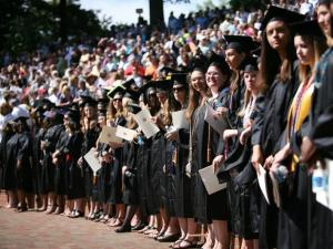 Meredith College seniors line up in McIver Amphitheater for graduation on Sunday, May 9, 2010. (Photo courtesy of Meredith College)