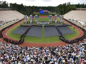 Muhammad Yunus, a Bangladeshi banker who won the 2006 Nobel Peace Prize for inventing microcredit loans for the poor, spoke at Duke University's graduation on May 16, 2010. (Photo courtesy of Duke University)