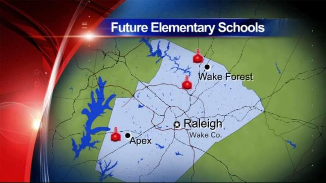Wake County is planning for three possible new schools on Durant Road, Scotts Ridge Trail in Apex and Capital Boulevard in Wake Forest.