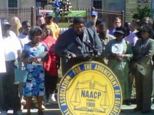"""Our children are being used as tools of division,"" NAACP state chapter President Rev. William Barber said July 6, 2010."