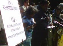 NAACP state chapter President Rev. William Barber makes his case with passion to a crowd in Raleigh July 6, 2010.