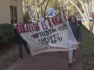 Students marched on the Chapel Hill campus Friday in protest against a tuition hike.