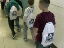 The students of Fayetteville's Ben Martin Elementary School got a special visit from WRAL Chief Meteorologist Greg Fishel on May 6, 2011. He brought them special slingback bags filled with school supplies.