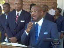 Shaw University Board of Trustees Chairman Willie Gary speaks on Aug. 15, 2011.
