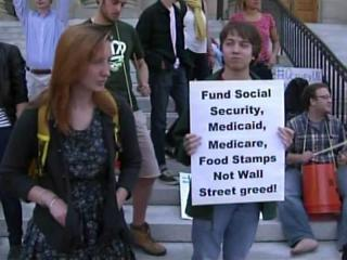 Students gathered on college campuses nationwide, including UNC-Chapel Hill, on Oct. 5, 2011, to protest what they see as corporate greed, as well as problems at their individual universities.