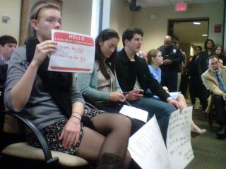 Students attend a UNC Board of Governors meeting on Jan. 12, 2012, to protest proposed tuition increases.